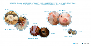 Infographic over global meat production